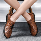 夏季男 士皮涼鞋透氣男 鞋韓版休閒鞋子一腳蹬鏤空皮鞋男 洞洞鞋  快速出貨