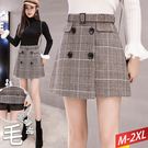 格紋黑四釦褲裙+腰帶(2色) M~2XL...