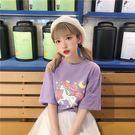 VK精品服飾 韓國學院風圓領字母印花顯瘦短袖上衣