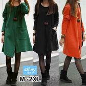 【V2245】shiny藍格子-獨特搭品.純色圓領寬鬆不規則長袖連身裙