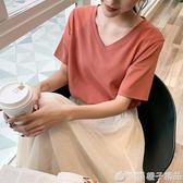 2019春夏裝新款純棉T恤女短袖V領純色打底衫百搭寬鬆白色半袖上衣      橙子精品