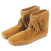【MINNETONKA】棕色麂皮後拉鍊流蘇莫卡辛短靴 女鞋 展示品