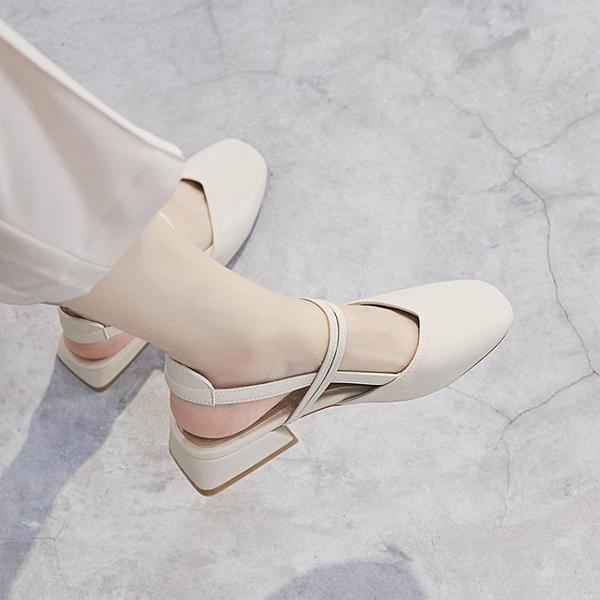 包頭涼鞋女年夏季新款百搭粗跟仙女風中跟一字帶單鞋女ins潮 格蘭小鋪