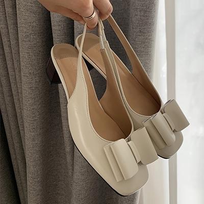 蝴蝶結涼鞋 方頭休閒涼鞋 淺口粗跟鞋/2色-夢想家-標準碼-0401