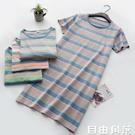 夏季彩條短袖純棉睡裙女式薄款純棉針織條紋寬鬆夏天家居服睡衣 自由角落
