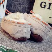 豆豆鞋 秋冬季真皮豆豆鞋女加絨加厚保暖一腳蹬社會大碼毛毛平底棉鞋
