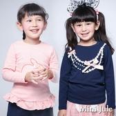 Mini Jule女童 上衣 兔子印花荷葉邊下擺/蕾絲珠珠蝴蝶結項鍊造型長袖上衣(共2款) Azio Kids