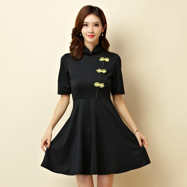 中大尺碼*改良式立領旗袍大裙襬表演洋裝小禮服~美之札
