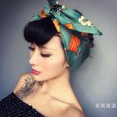 頭巾束髮帶歐美個性復古印花兔耳朵蝴蝶結鐵絲寬髮帶包頭巾飾品 交換禮物熱銷款