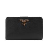 【PRADA】浮雕logo二折防刮牛皮零錢袋中夾(黑色) 1ML225 QWA F0002