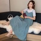 漂亮小媽咪 韓系 兩件式 波點 背心 洋裝 【DS5366】點點 雪紡 百褶 顯瘦 長裙 孕婦裝 吊帶長裙