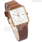 ROSEFIELD 歐風美學 時尚簡約 方形 真皮錶帶 女錶 防水手錶 咖啡色 QSCG-Q029