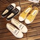 2020年夏季新款小白帆布女鞋韓版百搭透氣淺口休閒懶人一腳蹬布鞋 韓國時尚週