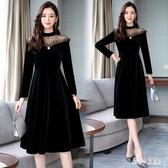 中大尺碼絲絨洋裝網紗拼接連身裙2020新款氣質減齡黑色中長裙 LF216【甜心小妮童裝】