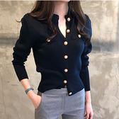 長袖針織衫 氣質釦子設計修身針織上衣 艾爾莎【TGK7107】