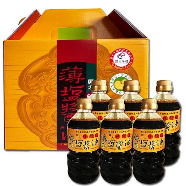 屏科大 薄鹽醬油禮盒-(6罐/盒)
