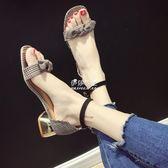 低跟涼鞋女夏新款韓版粗跟百搭chic學生仙女少女一字帶高跟鞋『伊莎公主』