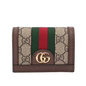 【GUCCI】GG supreme Ophidia卡片小短夾(綠紅) 523155 96IWG 8745