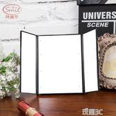 化妝鏡 LED化妝鏡帶燈 隨身便攜鏡子 台面大號雙面梳妝折疊小鏡子JD 玩趣3C