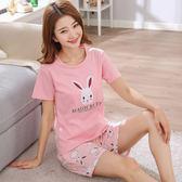 韓版純棉睡衣女夏季短袖短褲兩件套裝全棉女士甜美可愛學生家居服 芥末原創