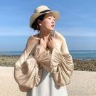 披肩夏季荷葉袖防曬衣外搭絲巾女海邊沙灘巾薄款防曬遮陽度假紗巾 布衣潮人