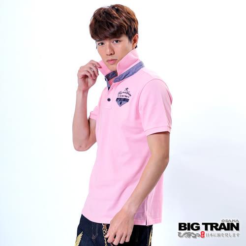 BIG TRAIN 潮流休閒素色POLO衫-男-粉紅