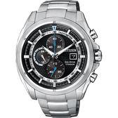 金城武廣告款 CITIZEN 鈦金屬光動能計時腕錶-黑/44mm CA0551-50E