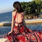 VK精品服飾 異國風情露背掛脖性感蕾絲無袖洋裝