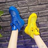 歐洲站夏季糖果色繫帶透氣網面馬丁靴內增高筒涼靴時尚女鞋潮 蘿莉小腳丫