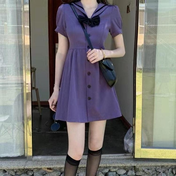 2021夏季新款可鹽可甜紫色溫柔風連身裙女小眾日繫海軍領氣質短裙 嬡孕哺