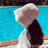 漁夫帽 草帽女蕾絲邊出游系帶日系綁帶甜美遮陽大檐漁夫帽    琉璃美衣