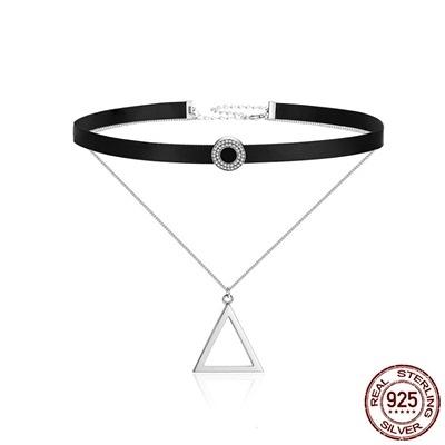 925純銀項鍊鑲鑽-日韓時尚雙層三角形女鎖骨鍊73og5【時尚巴黎】