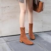 襪靴女彈力瘦瘦靴半靴短靴女春秋女靴夏季馬丁網紅靴方頭平底單靴 伊衫風尚