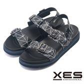 XES 夏日流線交織運動風涼鞋 真皮男鞋清涼露趾_黑色