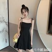 小眾小個子吊帶小黑裙氣質裙子女夏可甜可鹽心機學生性感洋裝潮連身裙