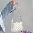 腋下包 側背包白色腋下包法棍包夏季小眾設計斜挎包2021新款包包女單肩小鏈條包 上新