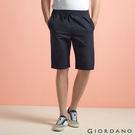 【GIORDANO】男裝純棉抽繩鬆緊腰休閒短褲(66 標誌海軍藍)