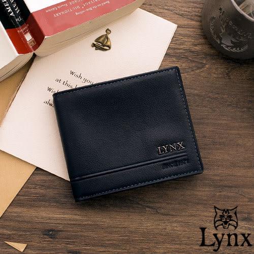 Lynx - 山貓簡約紳士真皮款5卡1照短夾-沉穩藍