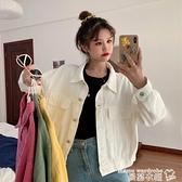 牛仔外套 秋季韓版2021新款寬鬆短款白色棒球服學生工裝長袖牛仔夾克外套女 交換禮物 曼慕