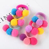 彩色三連綿球彈性髮圈 彩色 綿球 彈性 髮圈