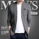 針織外套    開衫春秋新款韓版毛衣外搭線衫修身薄款男外套