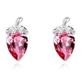 水晶耳環 925純銀(耳針式)-鑲鑽草莓生日情人節禮物女飾品5色73bd88【時尚巴黎】