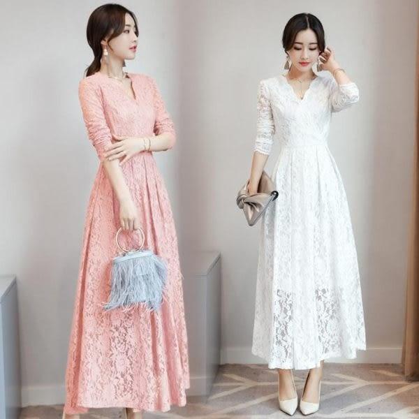 洋裝 新款女裝韓版蕾絲女神氣質修身顯瘦長裙 尾牙 小禮服 mc4630『M&G大尺碼』