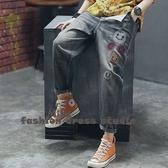 依多多 新款刺繡牛仔長褲秋季復古做舊寬鬆深色鬆緊腰系帶哈倫褲