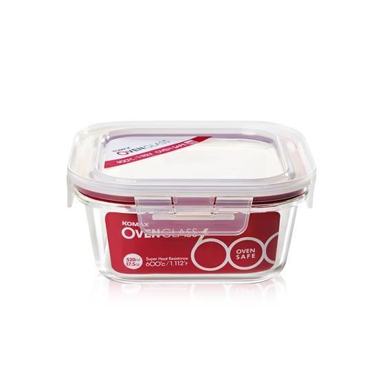 韓國KOMAX 耐熱玻璃保鮮盒-方型(520ml) -環保餐具保溫便當盒儲物盒