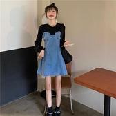 牛仔洋裝假兩件長袖復古牛仔裙女裝連身裙2021新款秋季收腰顯瘦設計感裙子 伊蒂斯