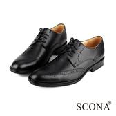 SCONA 全真皮 義式雕花綁帶紳士鞋 黑色 0828-1