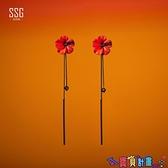 古風耳環 古風耳墜長款紅色花朵流蘇耳環夸張耳飾氣質高級大氣耳夾無耳洞女 寶貝 免運