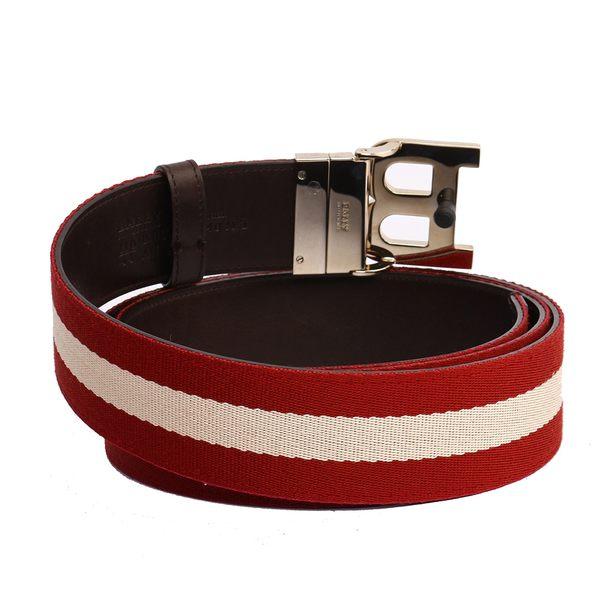 【BALLY】B-BUCKLE 4CM織帶腰帶(紅/白) 620763