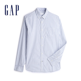 Gap男裝棉質角扣翻領長袖襯衫548308-藍色條紋
